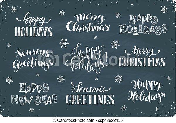 Happy holidays phrases hand written new year phrases greeting card happy holidays phrases csp42922455 m4hsunfo