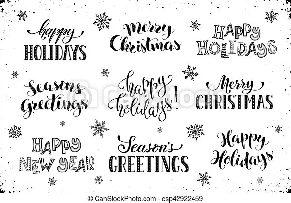 Happy holidays phrases. Hand written new year phrases. greeting card ...