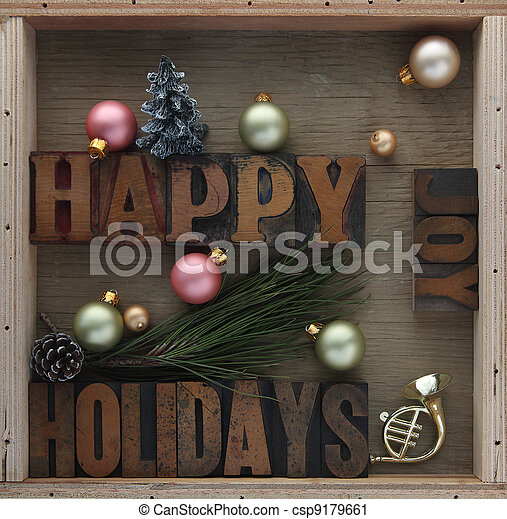 happy holidays with decorations - csp9179661