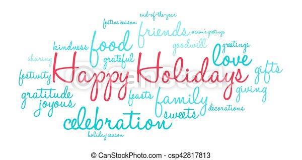 Happy Holidays Word Cloud - csp42817813