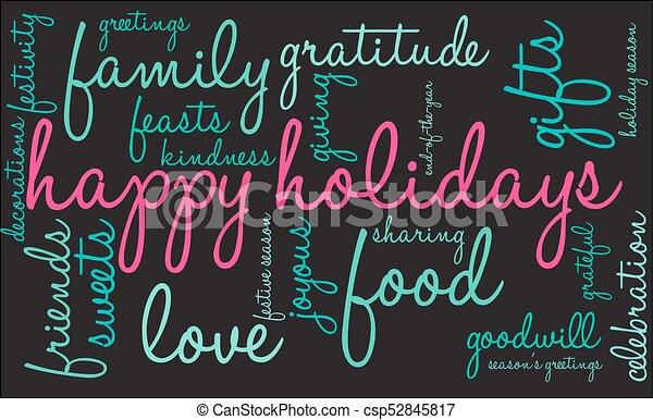 Happy Holidays Word Cloud - csp52845817