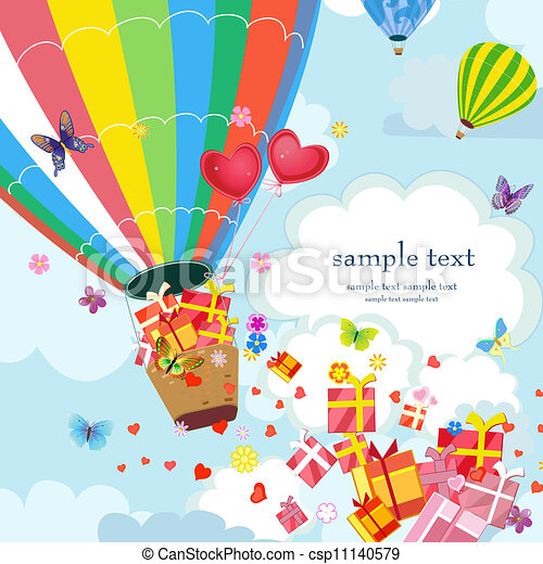 Happy Hot air balloon with gifts and love - csp11140579
