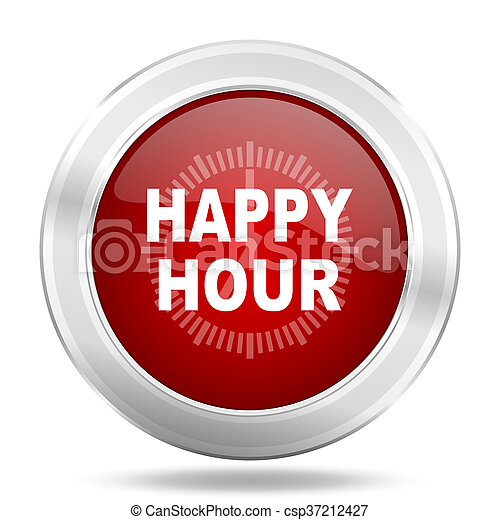 happy hour icon, red round glossy metallic button, web and mobile app design illustration - csp37212427