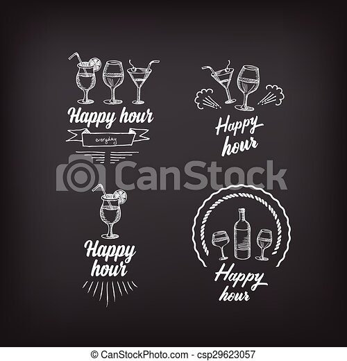 Happy hour party invitation cocktail chalkboard clipart vector vector happy hour party invitation cocktail chalkboard banner csp29623057 stopboris Images