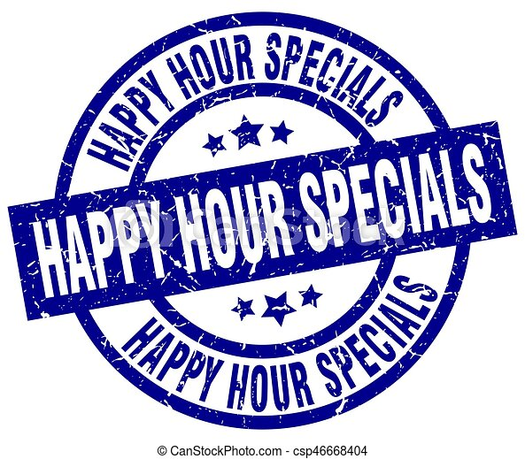 happy hour specials blue round grunge stamp vector clipart search rh canstockphoto com happy hour pictures clip art happy hour clipart free download