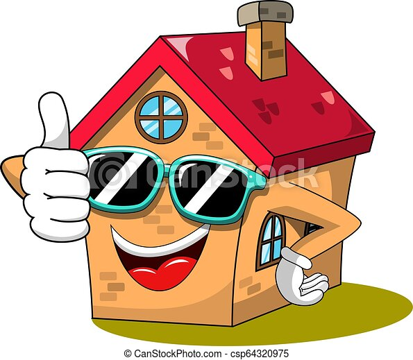 happy house cartoon funny character thumb up cool sunglasses isolated on white https www canstockphoto com happy house cartoon funny character 64320975 html