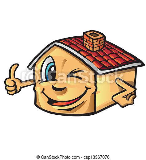 Happy House Cartoon Thumb Up