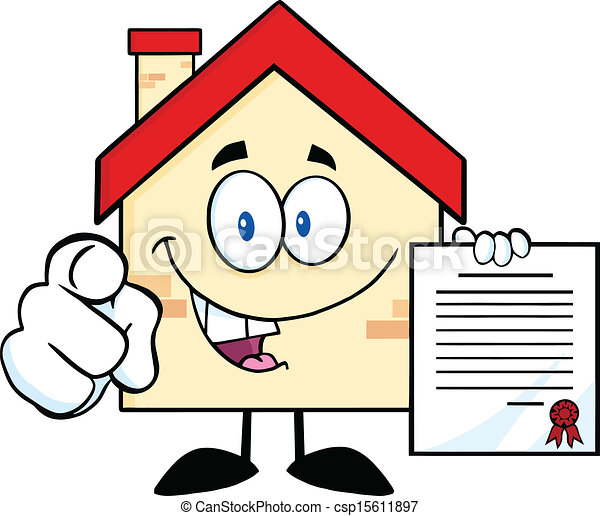Happy House Holding A Contract Happy House Cartoon Mascot Character