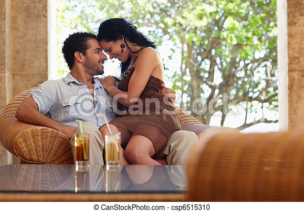 happy husband and wife doing honeymoon in resort - csp6515310