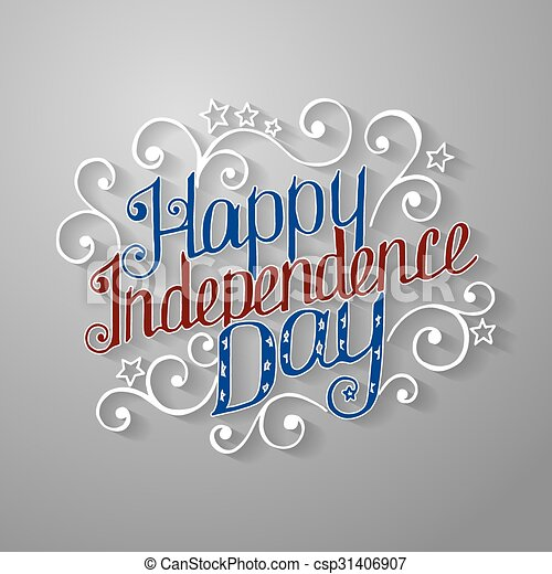 Happy Independence Day Lettering With Beautiful Pattern Vector
