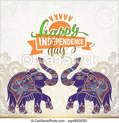 happy independence day of india greeting card - csp48505351