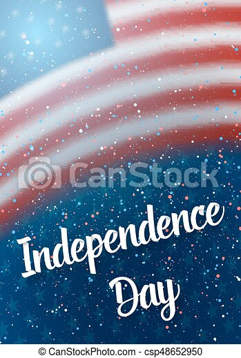 Happy Independence Day Vector Poster. 4th of July USA Flag on Blue Stars Background with Confetti Particle Effect - csp48652950