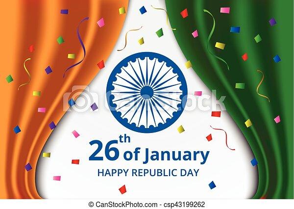 Happy indian republic day celebration on curtain color of india flag happy indian republic day celebration csp43199262 m4hsunfo