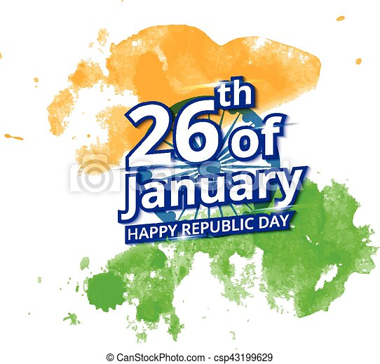 Happy indian republic day celebration on flag water color greeting card happy indian republic day celebration csp43199629 m4hsunfo