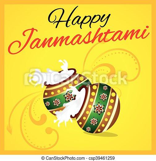 happy janmashtami background with - csp39461259