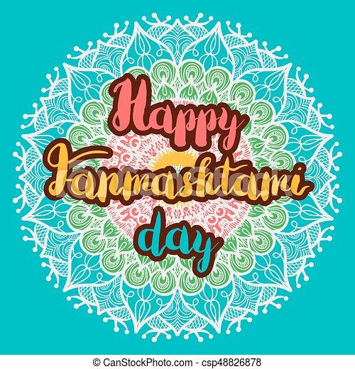 Happy Janmashtami Day Banner - csp48826878