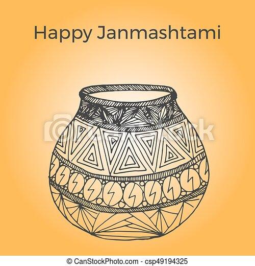 Happy Janmashtami. Indian fest. Dahi handi on Janmashtami, celebrating birth of Krishna. Watercolor abstract background. Template for creative flyer, banner, greeting cards Vector illustration - csp49194325