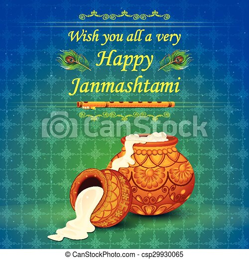 Happy Janmashtami wallpaper background - csp29930065