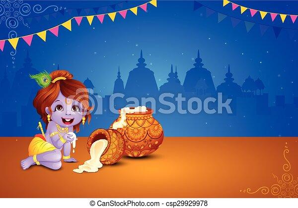 Happy Janmashtami wallpaper background - csp29929978