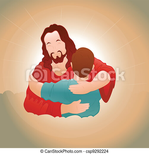 Happy Jesus with Young Boy - csp9292224