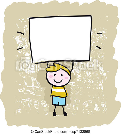 Happy kid boy holding blank banner sign   - csp7133868