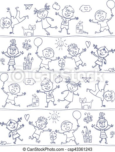 Happy kid cartoon doodle. Drawing like children - csp43361243