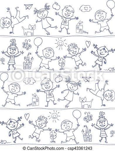 happy kid cartoon doodle drawing like children vector - Kid Cartoon Drawing