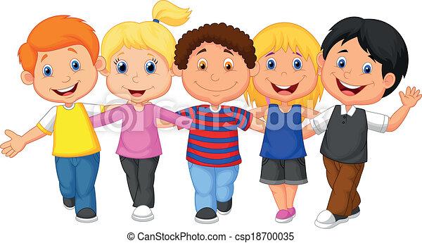 vector illustration of happy kid cartoon walking together vectors rh canstockphoto com happy kids clip art pictures happy kids clip art pictures