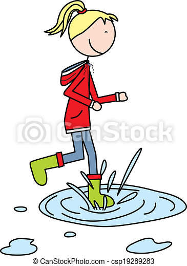 happy kid illustration of a girl jumping to a puddle vector rh canstockphoto com happy kids clip art pictures happy kid face clipart
