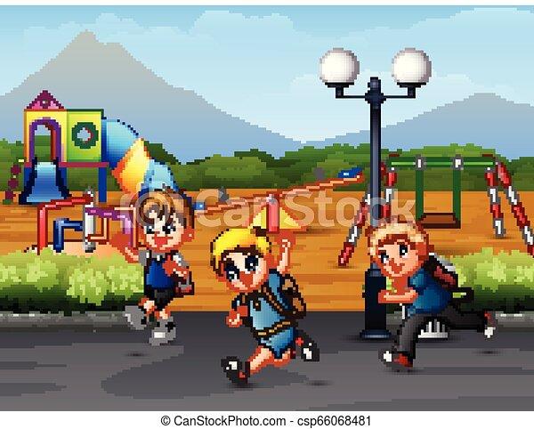 Happy kid running on the road - csp66068481