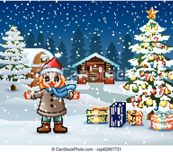 Christmas Day Drawing Images.Happy Kid Wearing A Winter Clothes In Christmas Day