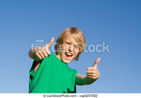 happy kid with thumbs up - csp6207092
