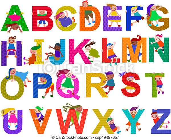 Happy Kids Alphabet Set - csp49497657
