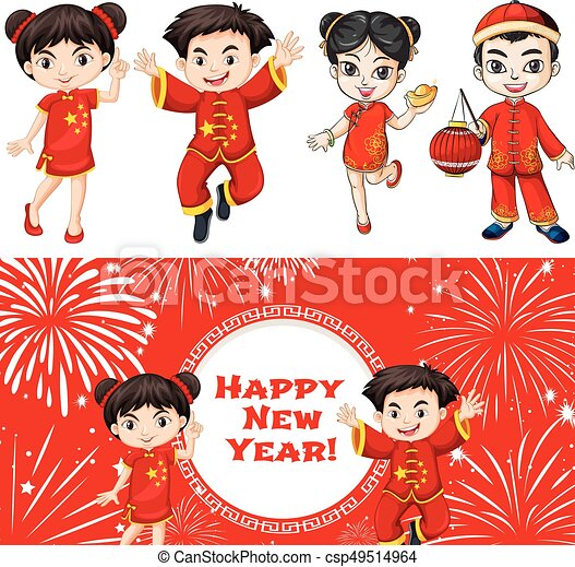 happy kids and chinese new year card template csp49514964