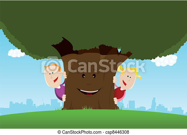 Happy Kids And Friendly Tree - csp8446308