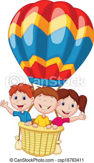 Vector Illustration Of Happy Kids Cartoon Riding A Hot Air Balloon