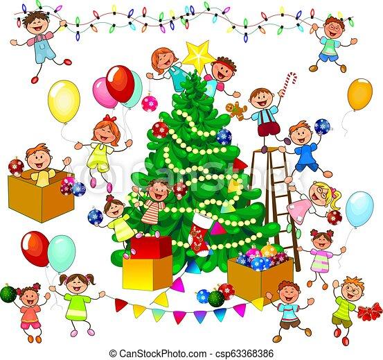 Happy Kids Decorate Christmas Tree Joyful Little Children Decorate