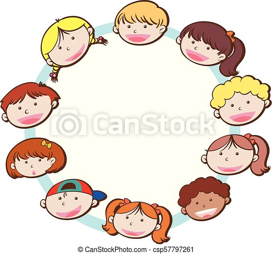 Happy Kids Face on White Background - csp57797261