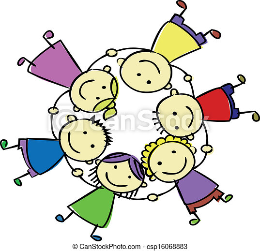 happy kids holding hand vector search clip art illustration rh canstockphoto com