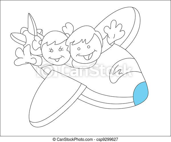 Happy Kids In Plane Sketch Vector