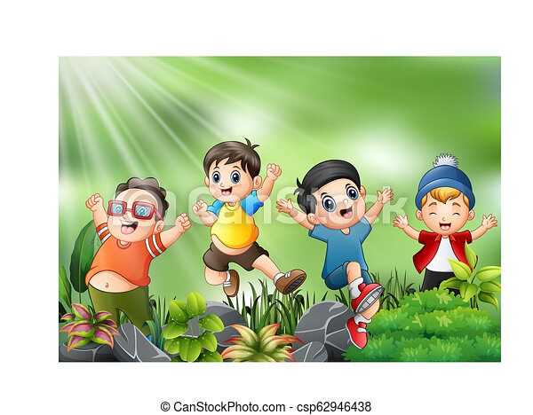 Happy kids jumping and laughing with the nature scene - csp62946438