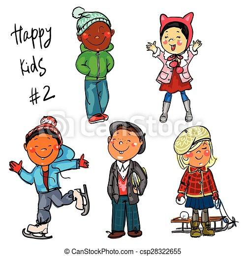 happy kids part 2 winter edition set of hand drawn clipart rh canstockphoto com happy kids clip art pictures Happy Dance Clip Art