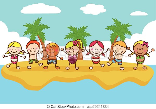 Happy Kids Playing At Beach Vector
