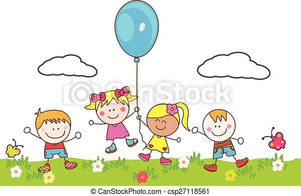 Happy kids playing balloon at park - csp27118561