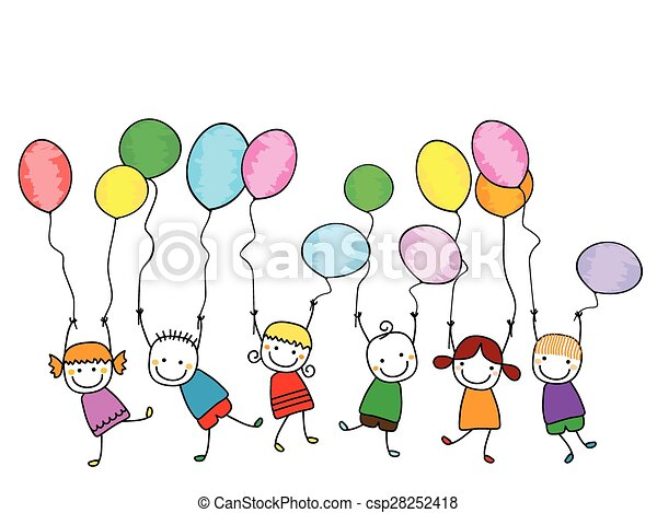 happy kids with balloons - csp28252418