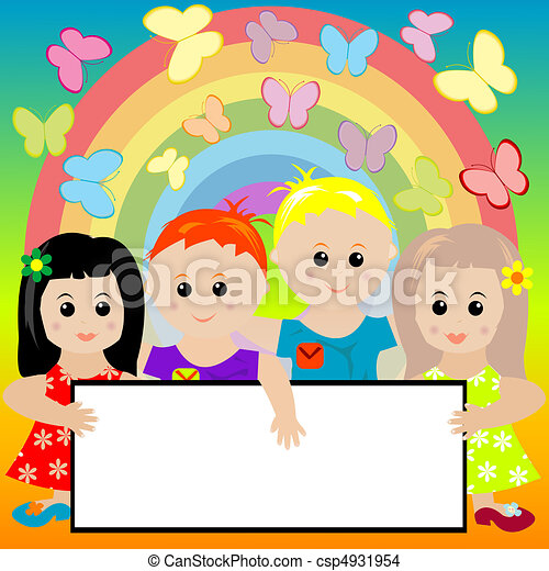 Happy Kids With Banner And Rainbow Background