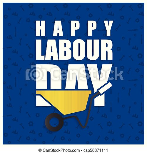 Happy labor Day Simple Typography on a Blue Patterened Background - csp58871111