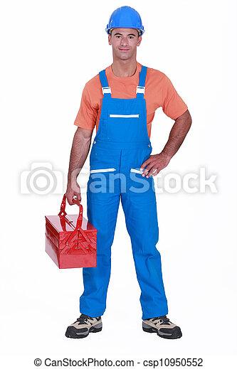 Happy laborer - csp10950552