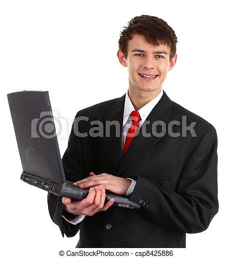 Happy laptop guy - csp8425886