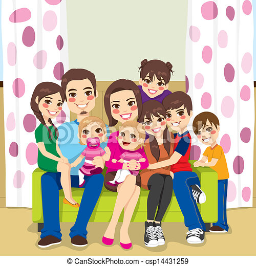 happy large family large family of mother and father with seven rh canstockphoto com big family clipart images big family picture clipart